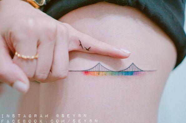 Colorful bridge tattoo by Seyoon Gim