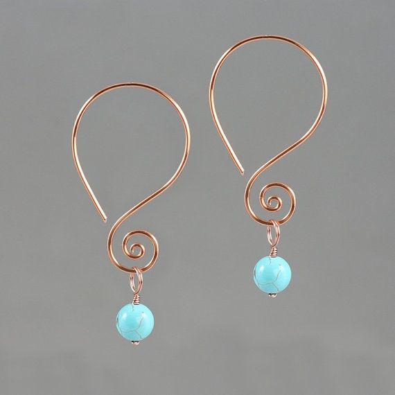 Scroll dangling wiring earring handmade US free by AnniDesignsllc