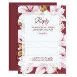 Magnolia Romance Floral Wedding Reply Cards #weddinginspiration #wedding #weddinginvitions #weddingideas #bride