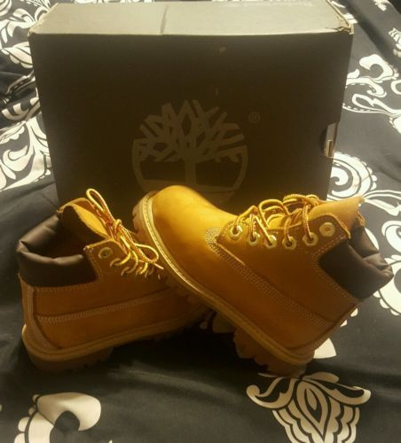 "KIDS' TODDLER TIMBERLAND 6"" PREMIUM BOOTS WHEAT 12809 MEDIUM WIDTH SIZE 9"