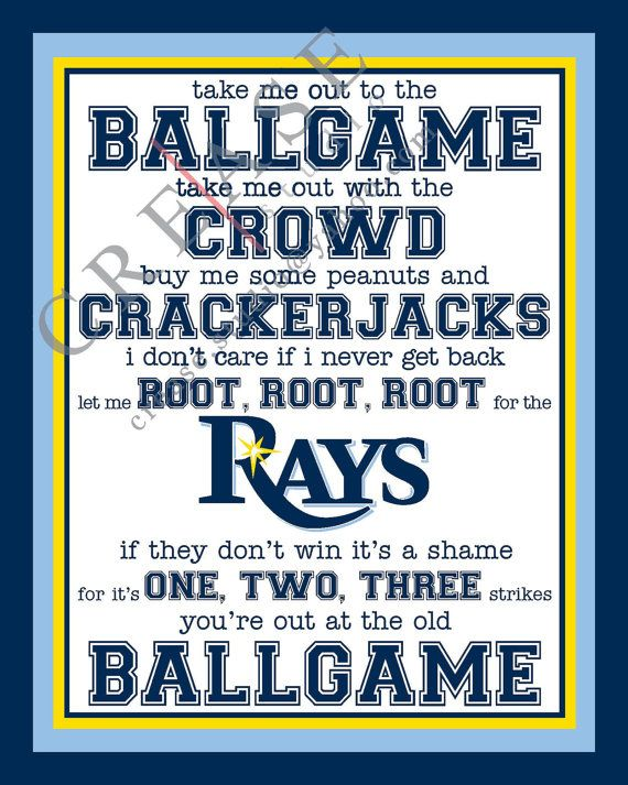 Tampa Bay Rays 'take me out to the ballgame 8x10 by CreaseStudio, $8.00
