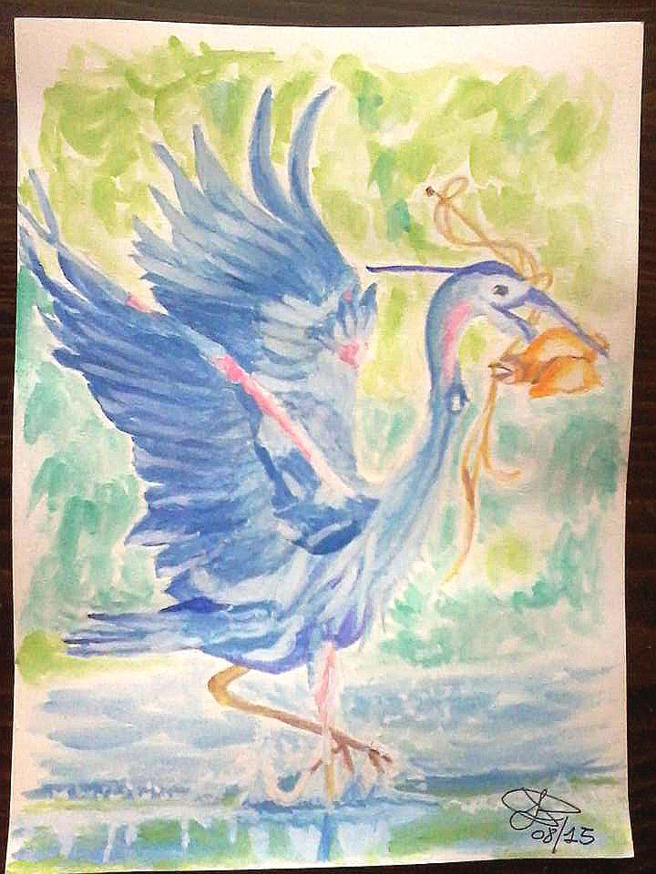 Heron birds animals water colors painting hand made on paper 25X35 cm ca.