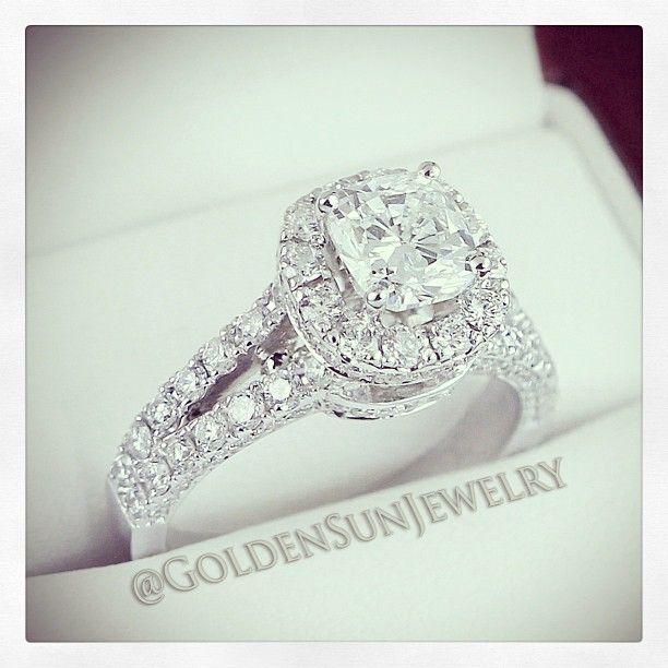 GOLDEN SUN JEWELRY: Beautiful 1.50ct. GIA Round Brilliant cut diamond in a stunning diamond mounting.