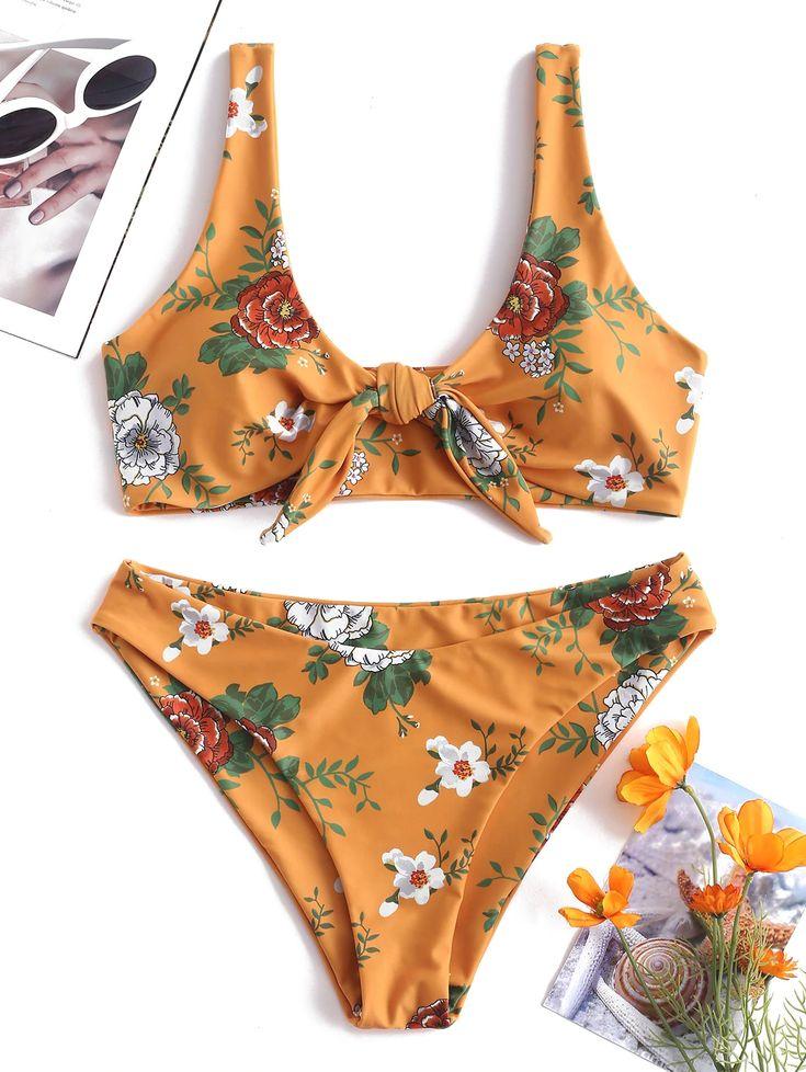 Floral Tie Front Bikini Set