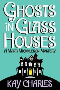 Ghosts in Glass Houses designed by Patricia Lillie | JF: A very effective ebook cover that maximizes readability and knows that just a small amount of illustration can pack in a lot of meaning. ★