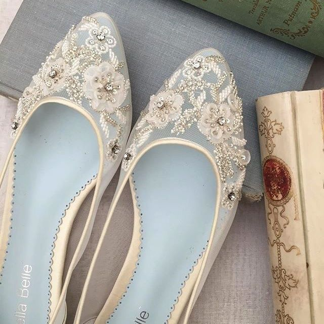 Bella Belle Adora - Lace & Beaded Bridal Flats. The hunt for gorgeous flat wedding shoes ends here. Delicately embroidered and beaded mesh is finished with an ivory silk heel cup and edge piping. You'll be able to wear these lovelies again for summer date nights after the wedding.
