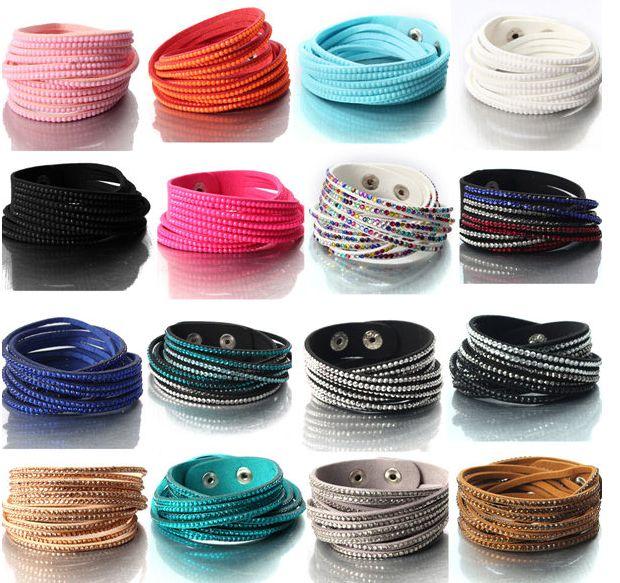 Multilayer Rhinestone Leather Wrap Bracelet Bangle For Women 16 colours available free shipping world usd 6.89