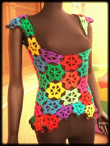 Rainbow Flowers Crochet Vest With Sequins