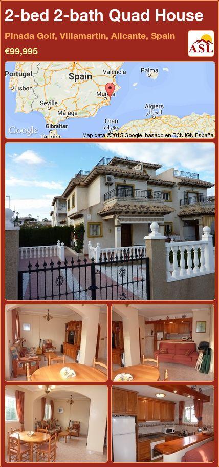 2-bed 2-bath Quad House in Pinada Golf, Villamartin, Alicante, Spain ►€99,995 #PropertyForSaleInSpain