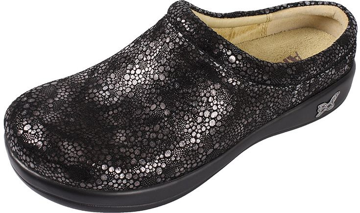 Kayla Bubble Trouble by Alegria!  The Kayla is a slip on clog that features a flat bottom, making it easy to walk in while encouraging proper posture and normal gait. The removable leather insole is anatomically correct to form to the natural shape of your foot and distribute weight more evenly.