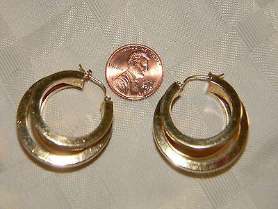 """Large 14k Yellow Gold 3 Hoop Earrings 7.2g 1 1/8"""" D x 1/2 W CJI 585"""