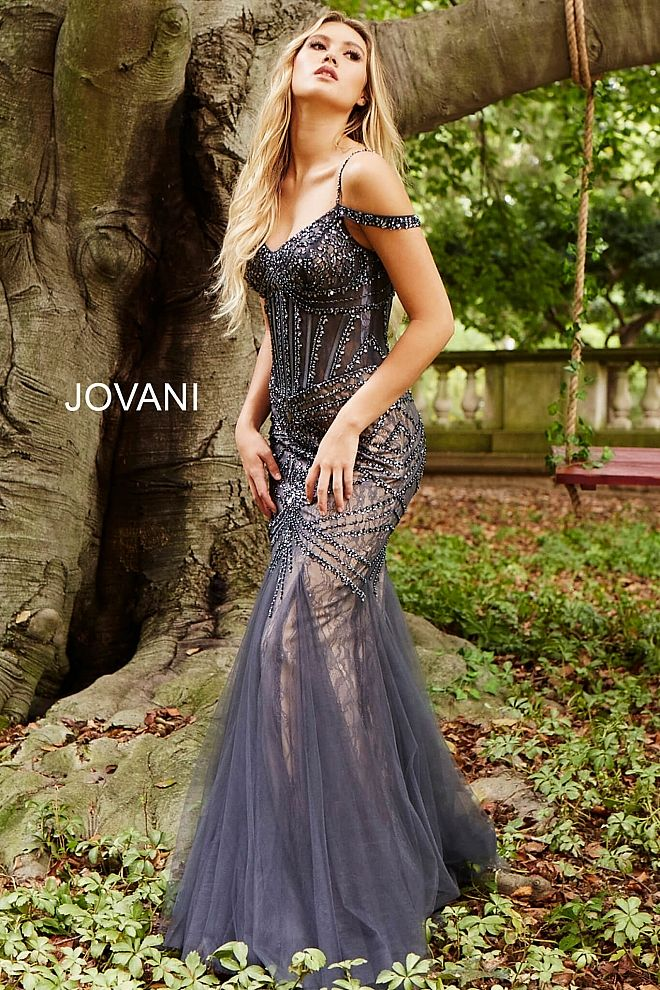 93e0a51b0e Floor length form fitting charcoal embellished prom dress with nude  underlay and mermaid tulle bottom features off the shoulder corset bodice  with piping.