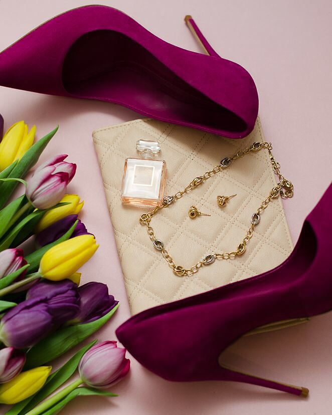 Shoes, perfume, jewelry and tulips #schutz #Chanel #tulips #evelynrampolaphotography
