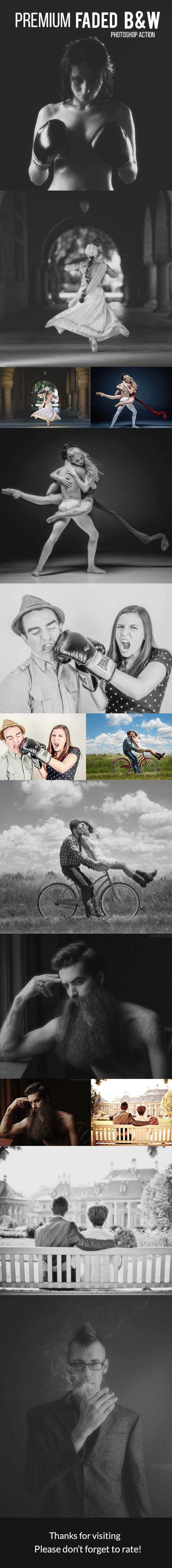 Premium Faded B&W - Photoshop #Action - Photo Effects Actions