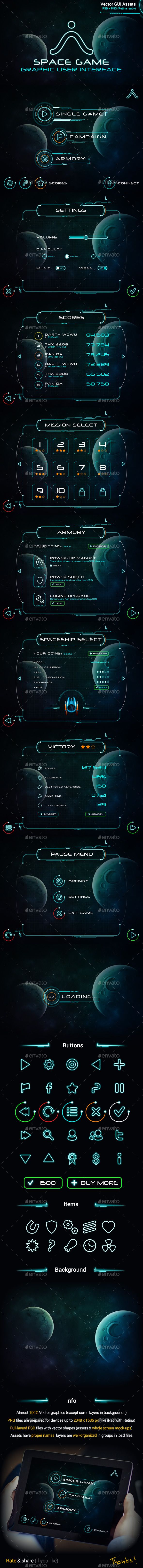 Space Game GUI Set - User Interfaces Game Assets                                                                                                                                                                                 More