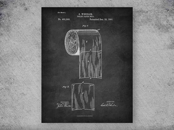 Toilet Paper Patent Print Bathroom Decor Restroom Decor