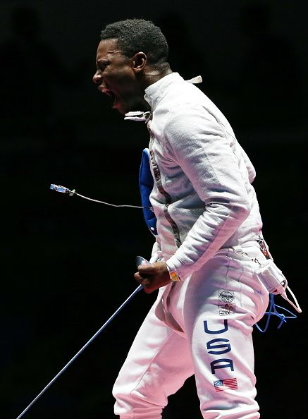 #RIO2016 Daryl Homer of the USA wins the men's sabre individual semifinal bout against Iran's Mojtaba Abedini during the fencing event at the 2016 Summer...