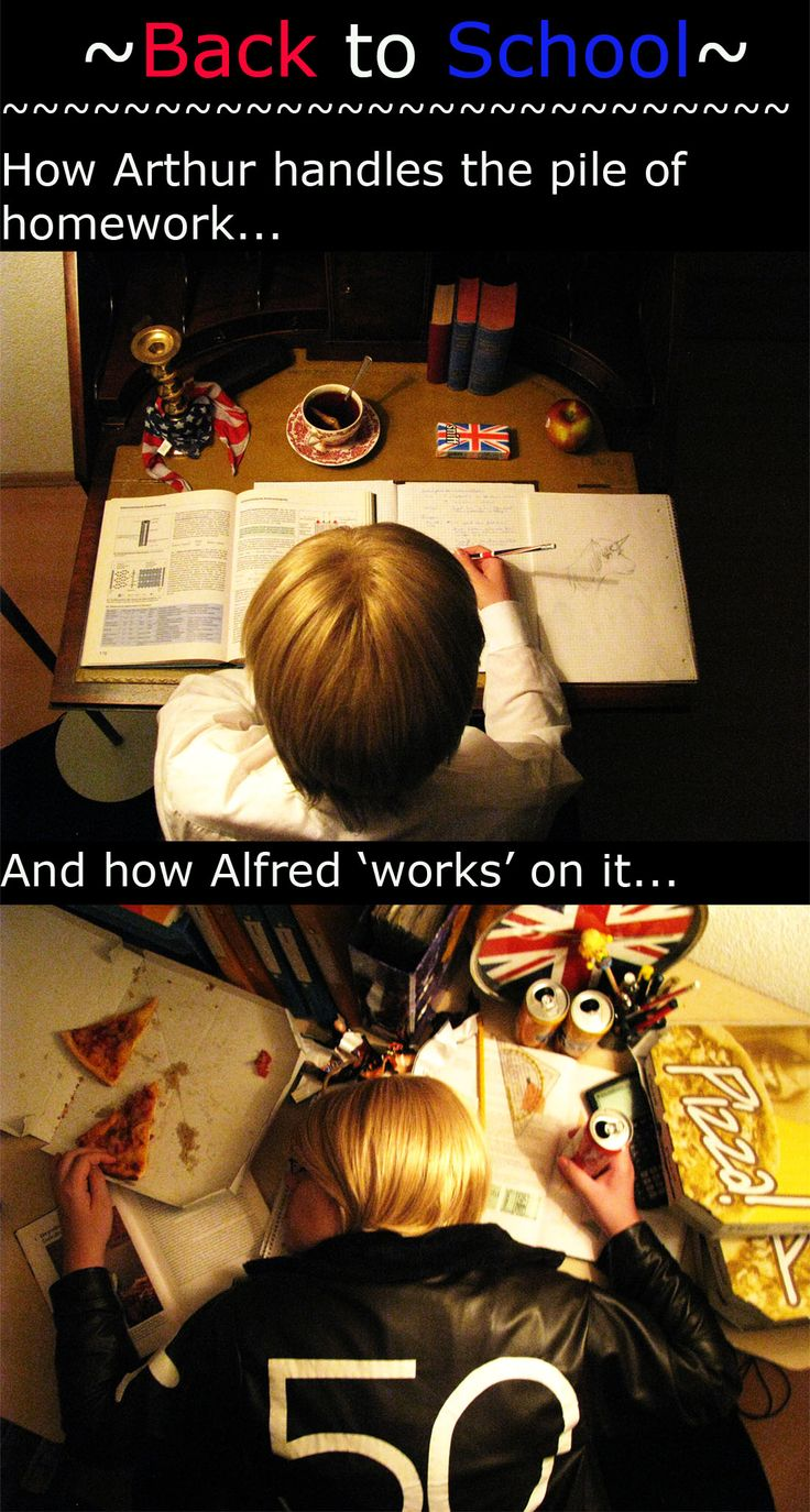USUK - How to study... by Deadpokerface.deviantart.com on @deviantART - How Arthur and Alfred study at school...lol! This was uploaded by the Alfred cosplayer.