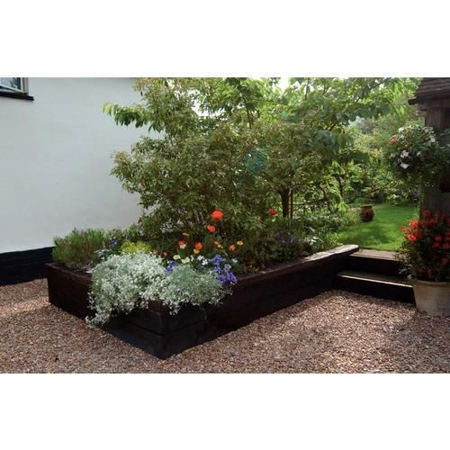 contemporary small garden with black painted raised beds - Google Search