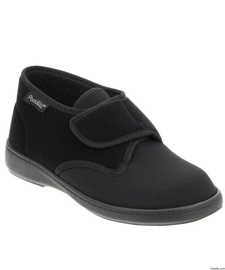"The ""Aladin"" by Podowell is a soft top orthopedic shoe for men used by diabetics and patients with orthopaedic deformaties. Light weight with adjustable VELCRO® brand closures. The wide width fits up to a 2E or EE width. Removable foot bed for orthotics. Made of microfiber and neoprene. Machine washable at 86 °F or 30 °C and air dry."