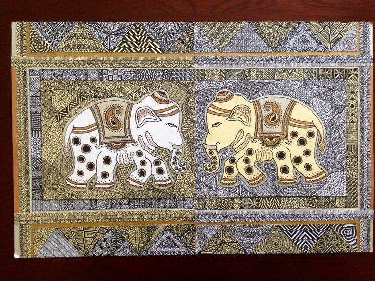"""Indian Elephants"": wedding gift for two friends based on their place cards"