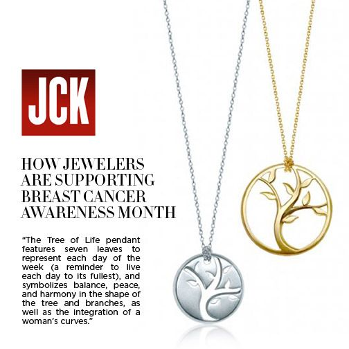 Thanks #JCKMagazine for featuring both our Tree of Life pendant and disc in support of #BreastCancerAwarenessMonth. Year-round net proceeds from both designs support #ChristinaApplegate 's foundation, Right Action for Women. #BCAM #ThinkPink