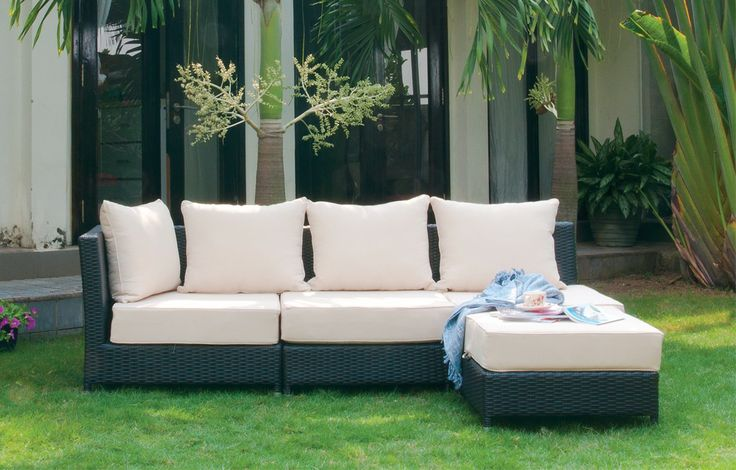 BONDI Sectional Outdoor Patio Set made with a steel frame and black weather resistant polyrattan. Additional pieces can be added to increase seating.