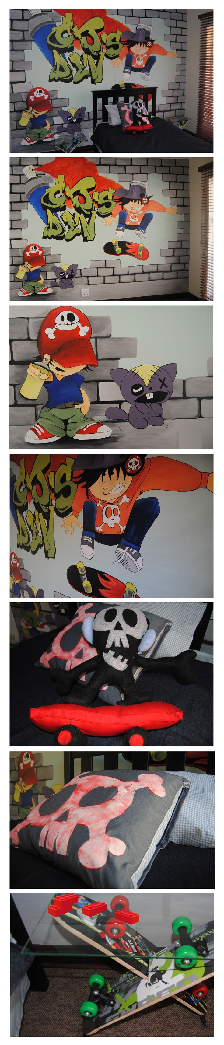 Oogappel Design Studio and our sister company Flippe&Fleur Designer Bedding collaborated to create an epic Skaterboy themed room makeover for a cool little dude. Credits: Mural and hand painted skull scatter by Oogaapel Design Studio Credits: Bedding (3/4 Denim Duvet Cover), Skater Skull plushy and skateboard side tables by Flippe&Fleur Designer Bedding