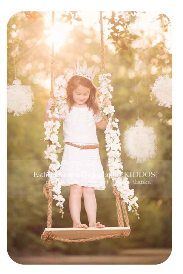 dallas tree swing | ... -in-swing-with-pompoms-hanging-from-tree-by-Dallas-Child-photographer