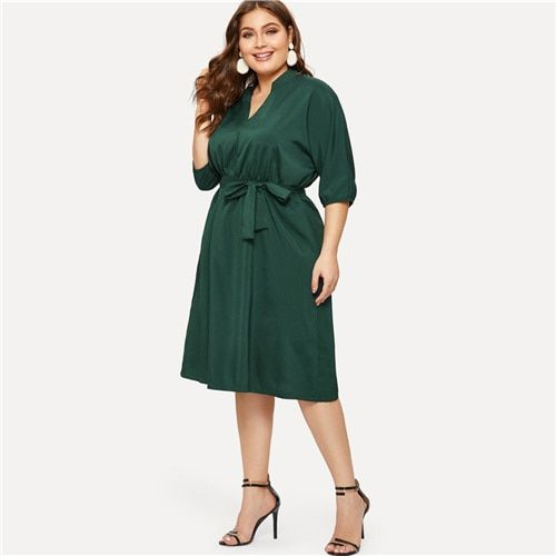 Plus size v neck half sleeve green dress women summer high waist a line dresses ladies solid belted dress