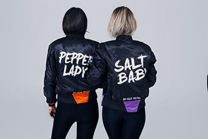 Bomber jackets, matching, bff match, matching sisters, matching friends, best friends, happy , fun , pepper lady, salt baby, baby, lady, salt , pepper, salt & pepper, orange, purple, black, bff, blondie and brownie, blond + bronette, bestfriends forever, rock, bad ass, satin, quilt