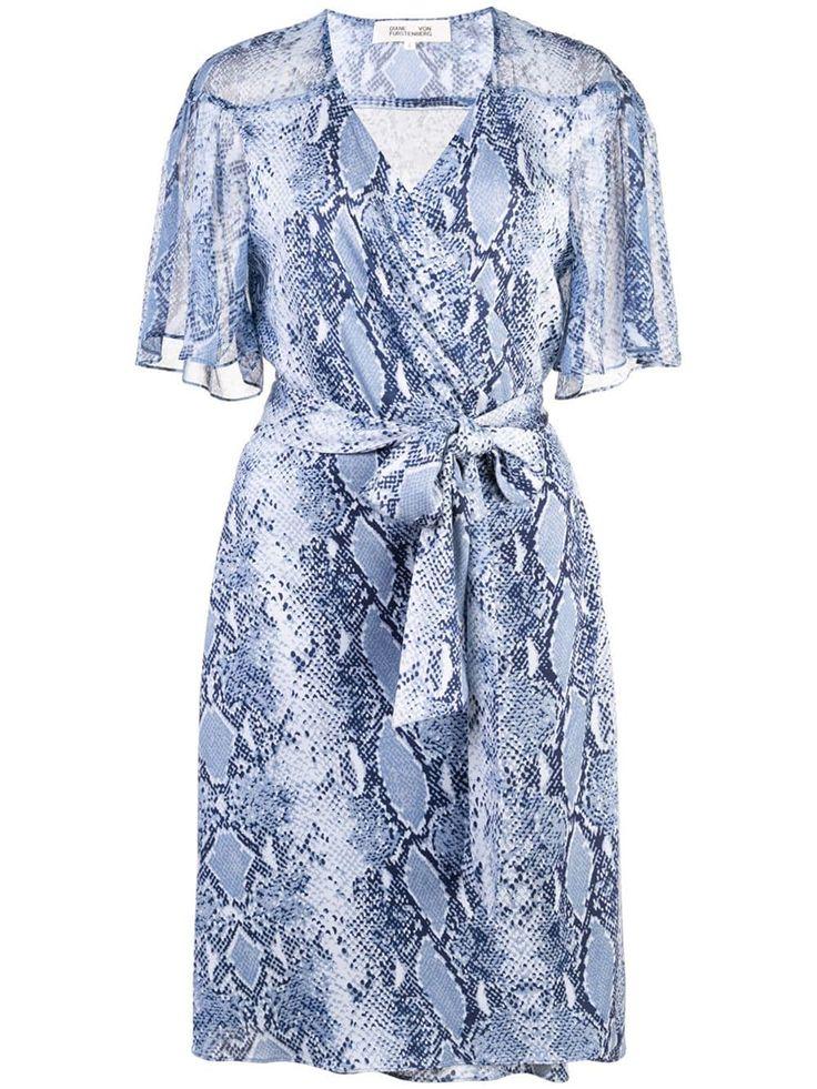 diane von furstenberg snakeskin print wrap dress blue sommer