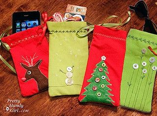 Mini Gift Pouches from Napkins - Reuse these sewn gift pouches year after year.