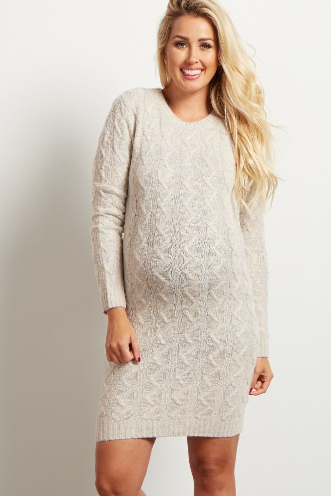 Ivory Cable Knit Maternity Sweater Dress | Casual maternity
