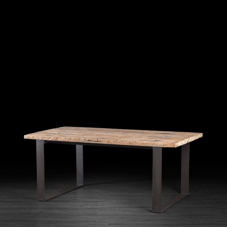 Recycled Railway Wood Dining Table with Metal Legs