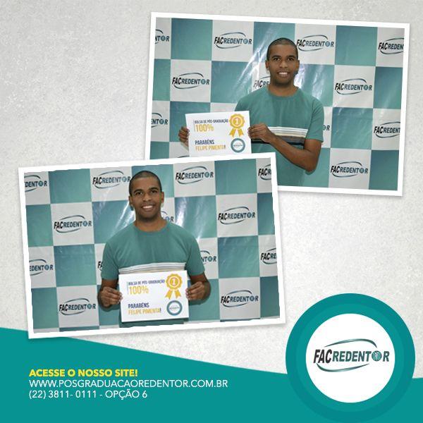 Ganhador da Bolsa de Pós-Graduação sorteada na MercoNoroeste 2016. Parabéns Felipe Pimenta! Faça como o Felipe, prepara-se para o que realmente importa! INVISTA EM VOCÊ! #EntrenoGrupo #pósgraduaçãoredentor #PósGraduação #FacRedentor ➡ www.posgraduacaoredentor.com.br
