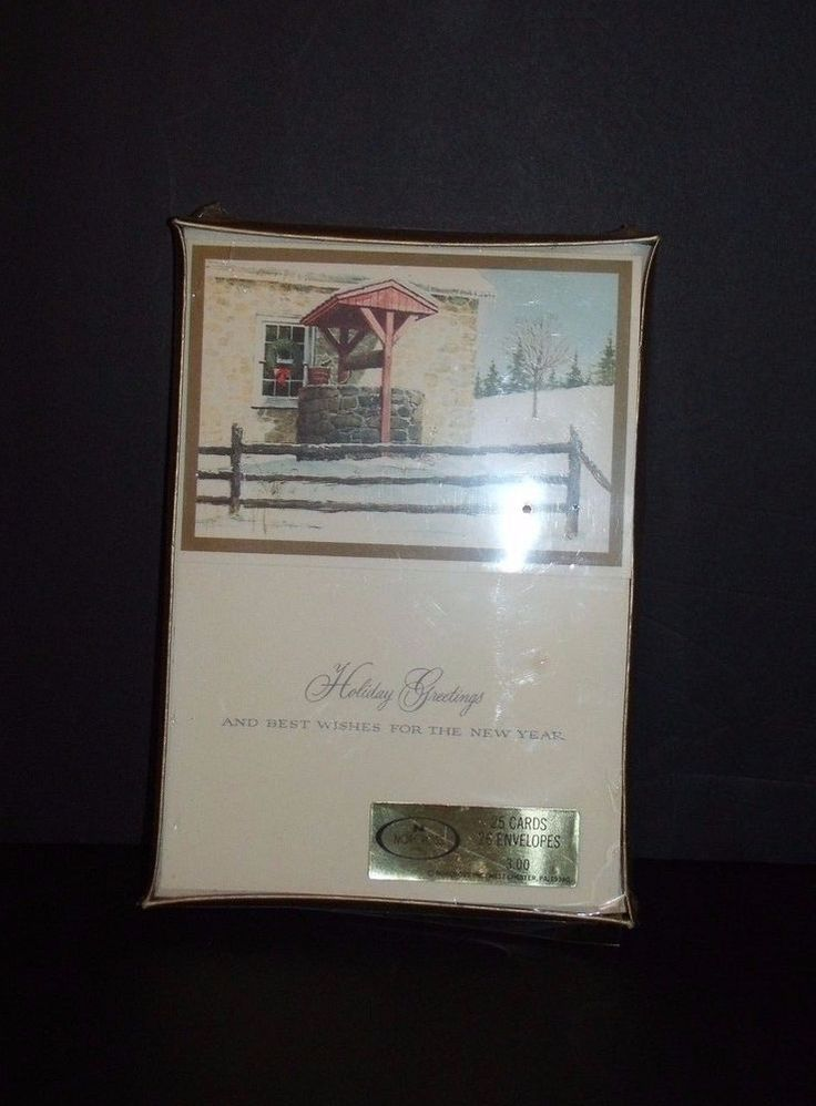 Vintage Norcross Christmas Holiday Greetings Cards Snow Fence Wreath Unused #2 #Norcross #Christmas