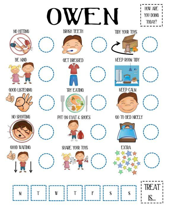 Kids Behaviour Chart Reward Responsibility Etsy