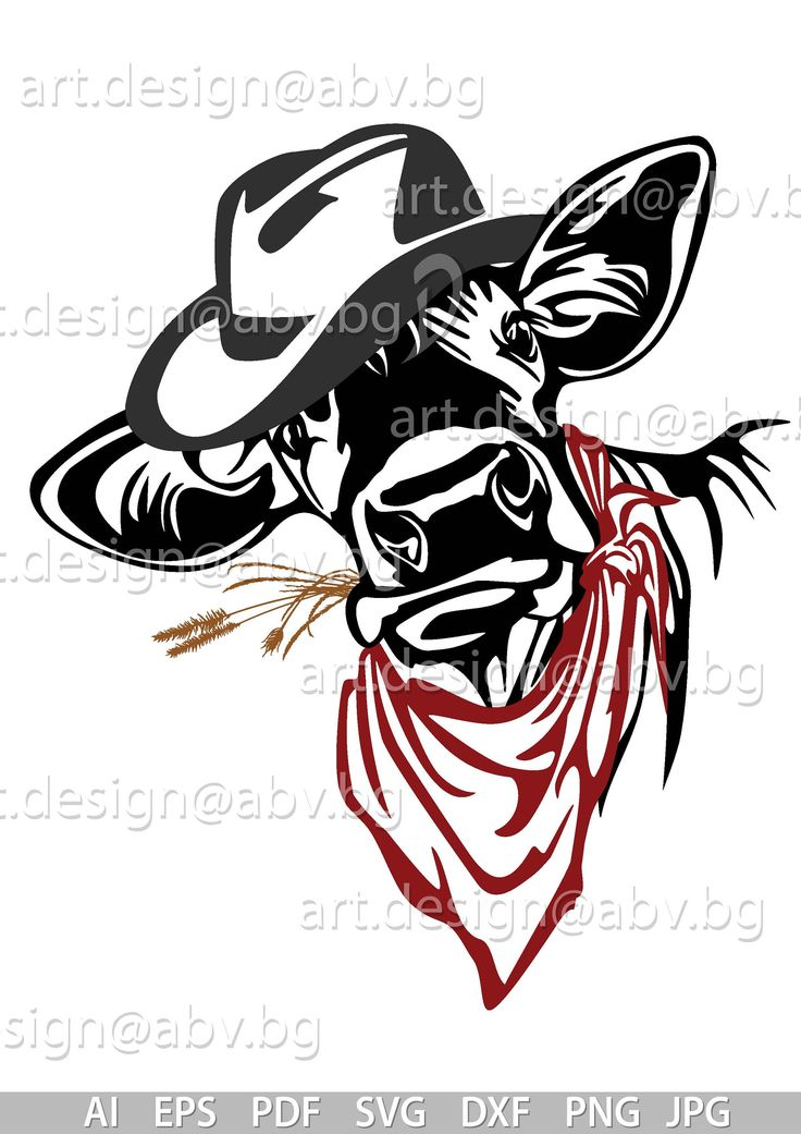 Vector COW with hat, bandana and flower, calf, head, AI