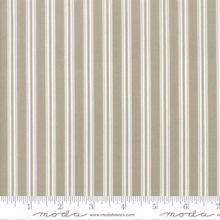 49007-14 Darling Little Dickens Ticking Stripe Grey & Toast