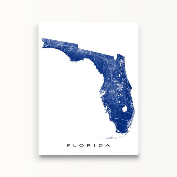 Florida Map Florida State Art Print USA State Outline by MapsAsArt