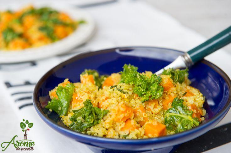 Salata de quinoa, cartof dulce si kale - Arome de poveste