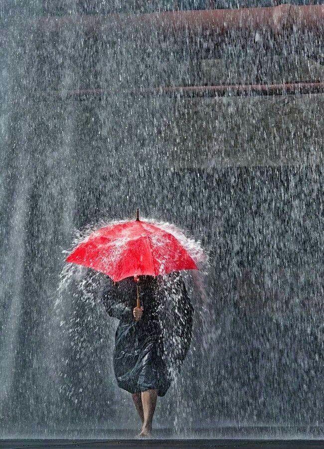 #rain #red umbrella