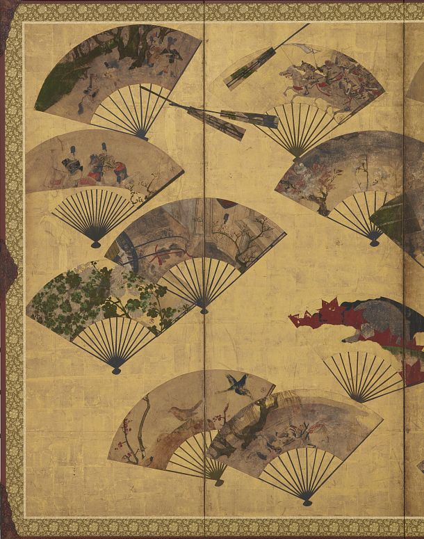 Detail. Scattered Fans 扇面散図屛風. Screen (six-panel). Tawaraya Sōtatsu 俵屋宗達 (fl. ca. 1600-1643). Edo period, Early 17th century. Color, gold, and silver over gold on paper