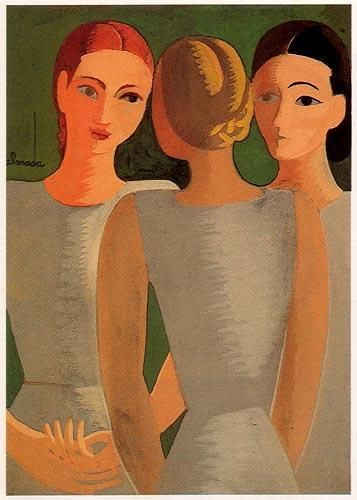Três mulheres dançando.  Tinta da china ,aguarela.  360x260 mm   José de Almada Negreiros (1873 - 1970 )