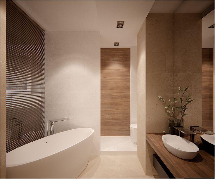 creamy stone and white contemporary bathroom - lovely door