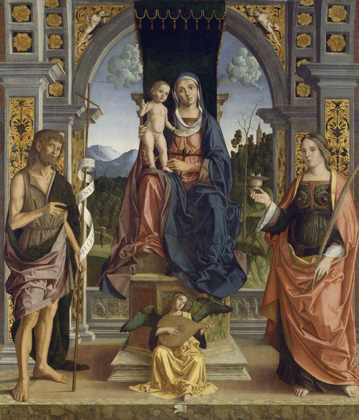 Марко Пальмеццано Мадонна с младенцем и святыми - arabena.  Иоанн Креститель и святая Лючия. На вазочке - глаза.