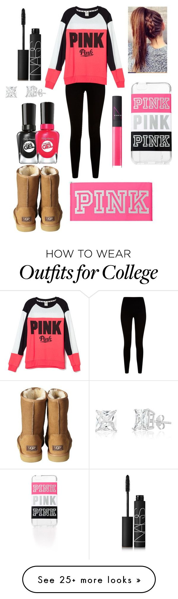 """PINK"" by aldowney3 on Polyvore featuring Givenchy, Victoria's Secret, UGG Australia, NARS Cosmetics and Sally Hansen"