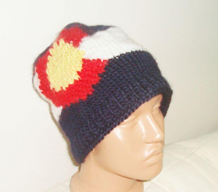 Handmade Valentine Gift. Hand Knit Colorado Flag Design Men Beanie Unisex hat made of Wooly. Skiing snowboarding beanie. $50.00, via Etsy.