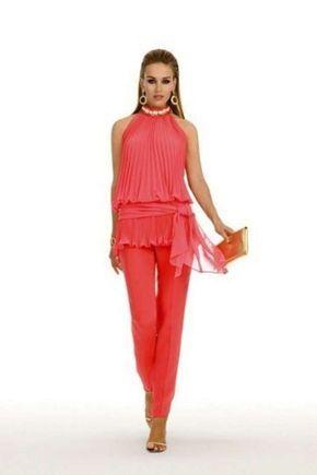 Trajes de fiesta de pantalón para mujer  fotos de los modelos - Conjunto  coral… 963f2e3101e4